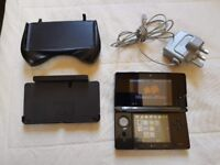 Nintendo 3DS Black Handheld Console w/ Grip, Charger, Dock & Stylus