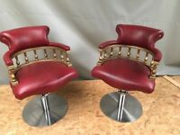 2 WBX Red Hydraulic Hairdressing Chairs With 1 Backwash and Chair