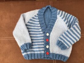 "Boys hand knitted cardigan 18"" chest"