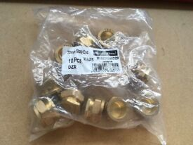 Bag of 10 x 22mm Stop ends (Compression - Brass)