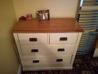 Large wooden chest if drawers, painted with natural wood top
