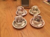 Royal Doulton, Brambly Hedge Miniature China Cup & Saucers 4 seasons