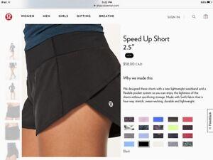 """Lululemon """"Speed Up Short"""" Black Colour, Size 4, new"""