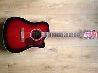 Vintage Electro Acoustic Guitar VEC500RB Redburst