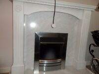 WHITE WOOD FIRPLACE AND MODERN SILVER FIRE ONLY £20 BRING A VAN
