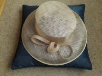 Ladies sand coloured hat, Marks and Spencers. Would be good for ladies day or a wedding.