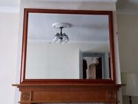 "Large Wooden Framed bevelled Glass Wall Mirror-Over mantle-Dining Room 50"" x 41"""