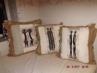 x3 Extra large Original Designer Print Batik Bedroom cushions. Immaculate.