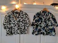 Two Topshop lightweight silky cropped shirts Size 8 for Spring Summer