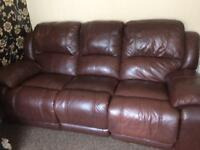 3 Seater Brown Leather Recliner couch sofa nice condition