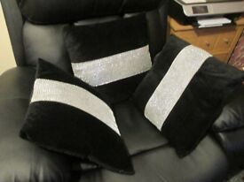 Cushions x 3 with crystals