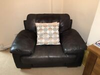 Lovely two piece black leather suite - for sale!!