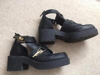 River Island - Black open ankle boots. Size 4.