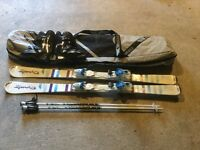 Skis, poles,boots and bag