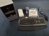 Medion PC MT6 tower + wireless keyboard and mouse + remote controller; for backups or spares