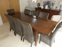Oak Dining Room Table & 8 Matching High Back Rattan Chairs