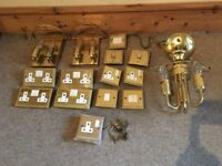 Brass light fittings and electrical sockets & switches antique