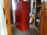 Four drawer filing cabinet and office chair