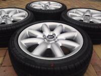"Genuine 17"" BMW Mini Cooper S 8 Spoke Crown JCW Refurbished Alloy wheel & tyres"