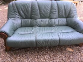 Green 3 Seater Leather Sofa Wooden Surround - Very Good Condition