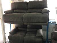 New/Ex Display LazyBoy Grey 3 Seater Electric Recliner Sofa + 2 Recliner Sofa