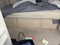 Single Divan Bed Base for mattress with storage - beige
