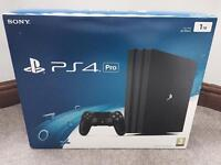 PS4 PRO 1TB 4K CONSOLE IN JET BLACK, BRAND NEW SEALED UNOPENED BOX, UK MODEL MAY SWAP FOR IPHONE 7