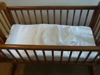 Wooden Cradle with Sleep Curve Mattress Included