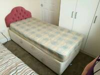 3ft divan bed with drawers, headboard and matress