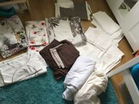 Large selection of double bed linen, 7 duvet covers, pillowcases, fitted sheets, valances