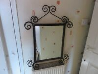 Wrought iron mirror great condition.