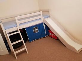 Kids mid sleeper bed with ladder and slide