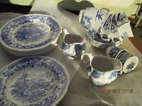 Job lot of blue and white crockery