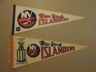 NHL New York Islanders 1 Circa 1970's & Stanley Cup Champions Hockey Pennants