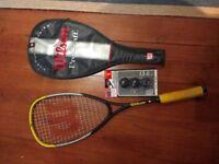 Wilson squash racket and 3 balls