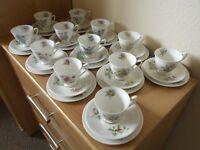 Royal Albert Flowers of the Month - Tea set for 12 settings + cake plate, milk jug and sugar bowl.
