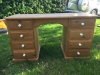 Solid Pine Desk / Dresser and Bedside Drawers Ideal for Restoration / Upcycle Project