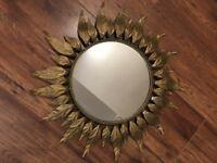 Brass sunburst mirror