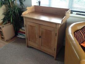 Antique pine cupboard, table, side unit