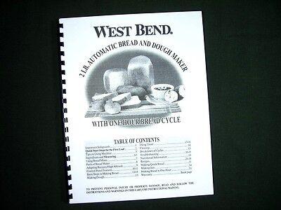 West Bend 41083 Bread Maker Machine Instruction Manual W