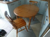 Pine Oval Table and 2 Chairs