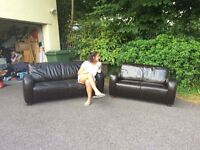 Art Deco Brown leather settee's for sale