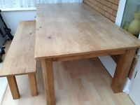 Solid Oak 7ft Table with Bench