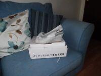 white &silver platform sling backs still in box wide fit lovely for wedding /cruise