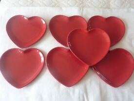 Red Heart Shaped Dessert Plates, Ideal for Valentine's Day