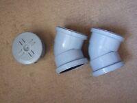 135° Double Socket Bend x2 + Access cap Pushfit Waste 110mm Drain / Grey