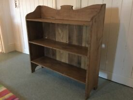 Antique waxed pine bookcase
