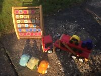Wooden lorry, alphabet and number abacus