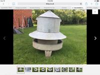 POULTRY FEEDER LARGE VINTAGE GALVANISE POULTRY CHICKEN FEEDER RAT PROOF RETRO ARMSTRONG WHITWORTH