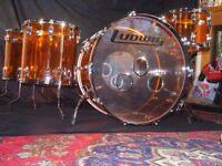 Ludwig Vistalite Drum Kit Amber drums shell pack John Bonham Led Zeppelin Zep Acrylic